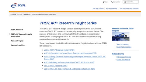 TOEFL iBT® Research Insight Series
