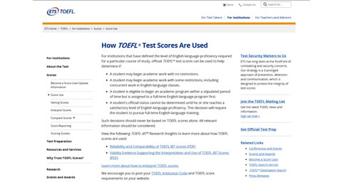 How TOEFL® Test Scores Are Used